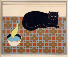 """Will Barnet - """"Cat and Canary"""""""