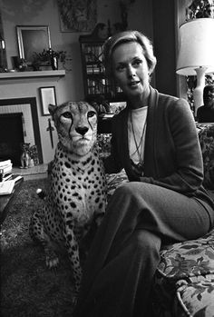 Tippi Hedren at home with her pet cheetah, Pharaoh.