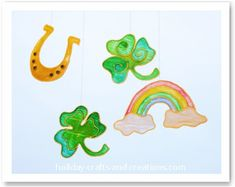 Maybe you are having a St. Patrick's Day party this year? Well then these stained glue shamrocks would make great homemade party decorations to hang on your wall or window. So if you have been looking for decorating ideas or an easy craft for kids, then this is a great project to try! We have provided the instructions and a shamrock template, which includes 2 shamrock designs, a rainbow and a horseshoe.