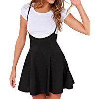 E.JAN1ST Women's Suspender Skirts Basic High Waist Versatile Flared Skater Skirt