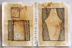 Page from the Book of Open Windows by Patti Roberts-Pizzuto - hand embroidery and a bit of collage on teabags mounted on Japanese paper. Another homage to the page of a book!