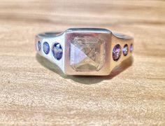 Arcatus Jewelry. Andy and Angela Engagement Ring Raw diamond, platinum, sapphire