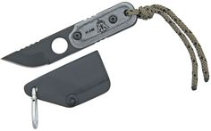 TOPS Knives ALRT XL05 Neck Knife 2-3/4 inch 1095 Carbon Steel Blade, Micarta Handle, Kydex Sheath