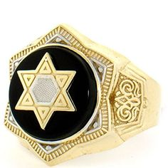 Solid Yellow Gold Onyx Star Of David Mens Ring - Jewelry Liquidation Number: - Ask for FREE Resizing! Men's Jewelry Rings, Cross Jewelry, Fine Jewelry, Unique Jewelry, Mens Ring Designs, Jewish Jewelry, Mens Ring Sizes, Mens Silver Rings, Star Of David