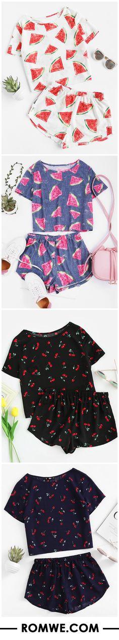 Print Frayed Dot Tee And Shorts Set