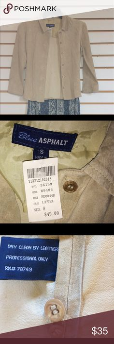 NWT BLUE ASPHALT Genuine Leather Jacket- Small Brand-new 100% genuine leather/suede jacket with tags's purchased for $49. Button down khaki/tan lined jacket with collar / 3/4 length sleeves. See the last picture for markings on the inside of the jacket which I think is normal bc it's real suede- not synthetic.   This may need to be dry cleaned as it has sat folded in my bureau for a bit. Blue Asphalt Jackets & Coats Blazers