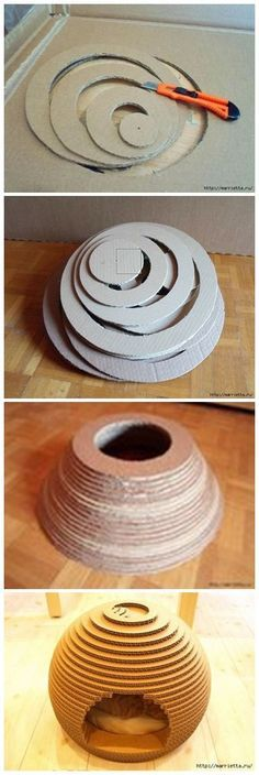 Cats Toys Ideas - How to Use Cardboard to make a cat's house but wouldnt this make the perfect beehive for some pretend play! - Ideal toys for small cats Diy Cat Toys, Diy Jouet Pour Chat, Cat House Diy, Ideal Toys, Cat Crafts, Animal Projects, Small Cat, Cat Furniture, Diy Stuffed Animals
