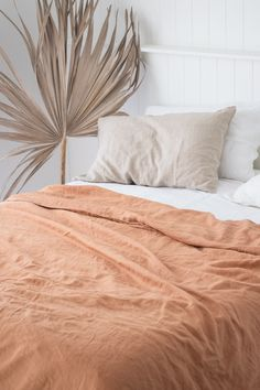 French Linen Bedding in Sandalwood, White & Natural. Beautiful Home Decor. Bedroom Comforter Sets, White Bedding, Ruffle Bedding, Linen Bedding, Master Suite, Modern Bed Linen, Bed Linen Inspiration, Bed Linen Design, Design Bedroom