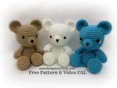 Crochet Bear Free Amigurumi Teddy Bear Pattern - FREE amigurumi patterns and tutorials to make the cutest crochet toys. This crochet style is very easy and fun, and your kids will love you for it. Crochet Bear, Crochet Patterns Amigurumi, Cute Crochet, Crochet Crafts, Crochet Dolls, Crochet Projects, Crochet Teddy Bear Pattern Free, Amigurumi Tutorial, Teddy Bear Patterns