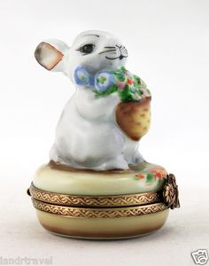 New Easter Hand Painted French Limoges box Cute Bunny Rabbit w/ colorful floral basket iandrtravel