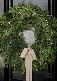 A French Inspired Christmas Front Porch - Maison Style #wreaths #homedecor