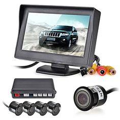 12v 4 sensores de estacionamento lcd exibição do monitor da câmera de vídeo inverter radar de backup campainha de alarme kit sistema – BRL R$ 228,56