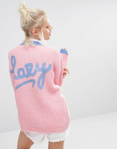 Image 1 ofLazy Oaf College Cardigan In Knitted Rib With Logo Back