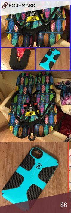 Nwt Flip flops & 4S iPhone case These super cute surf board flip flops never worn. IPhone 4s case used about 1 month. Other
