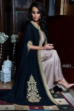 Fashion Arabic Style Illustration Description Moroccan Selham (cape) with traditional embroidery #moroccancaftan – Read More –