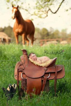 A classic, cute, and tasteful way to incorporate your horse into your baby pictures!