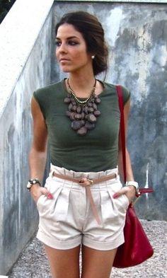 White high waist shorts and brown chunky statement necklace tan beige thin waist belt green short sleeve sleeveless t-shirt tank top shell silver bangle bracelet