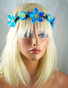 FESTIVAL BOHO HIPPIE  FLOWER HEADBAND CROWN HAIR PIECE HALO ELASTIC HEAD PIECE #fashionjewelry