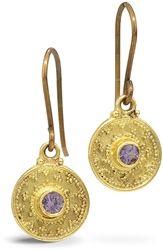 Nancytroske.com tanzanite granulated 22k gold earrings