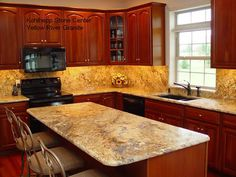 yellow river granite with light cherry cabinets | Ideas for Granite with Medium/Warm Cherry Cabinets? - Kitchens Forum ...