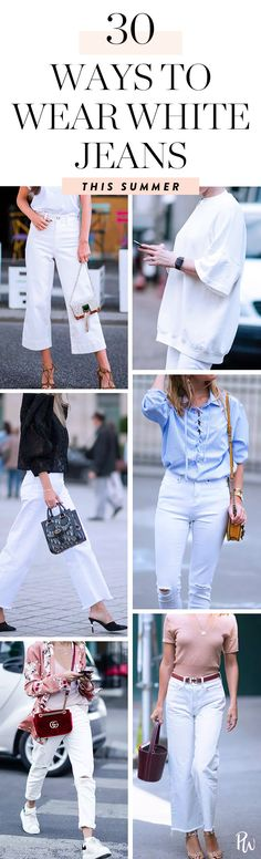 30 Ways to Wear White Jeans This Summer  #purewow #outfit ideas #style #denim #summer #fashion