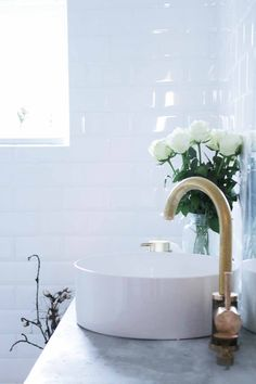 Industrial Modern Bathroom White Brass Gold Laufen Tapwell Roses
