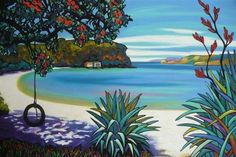 Little Oneroa ~ Waiheke NZ (Helena Blair) New Zealand Landscape, New Zealand Art, Jr Art, Art Folder, Maori Art, Kiwiana, Art For Art Sake, Whimsical Art, Beach Art
