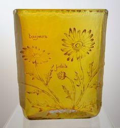 """Daum Nancy acid carved glass vase """"toujours fidèle"""""""