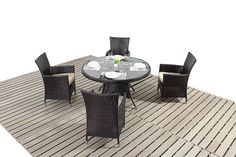 http://www.bonsoni.com/bonsoni-round-dining-set-4-piece-includes-a-glass-top-circular-table-four-chairs-and-a-parasol-rattan-garden-furniture  The Luxe range is constructed with a smooth mixed dark brown poly rattan weave and aluminium framework. It is also finished with light natural beige cushions and brushed aluminium effect feet.  http://www.bonsoni.com/bonsoni-round-dining-set-4-piece-includes-a-glass-top-circular-table-four-chairs-and-a-parasol-rattan-garden-furniture