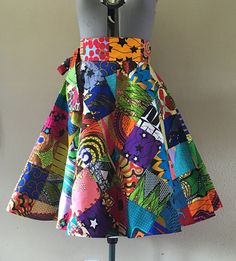 Facile à porter Wax africain Patchhwork impression Wrap jupe