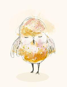 Sleepy OWL 21x3o cm - Print von Paola Zakimi auf DaWanda.com