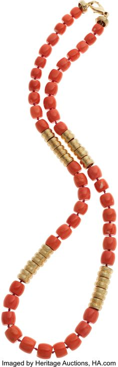 Henry Dunay Coral, 18k Gold Necklace