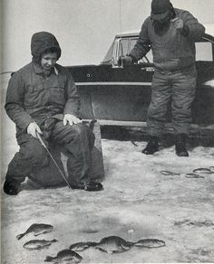 Discover 10 vintage ice fishing photos that range from decades and locations. See how the times have changed, but the love of ice fishing has remained. Gone Fishing, Fishing Tips, Fishing Lures, Wisconsin, Michigan, Fishing Photos, Vintage Fishing, Vintage Posters, Vintage Photos