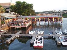 Hula Hut which describes its cuisine as Carribi-Mex, is always a hit with visitors to Austin. Seating is located on shore, on the pier, and when weather permits, under the thatched roof pavilion. My favorite dish: Thai chicken bbq fajitas with peaunt and plum sauce. hulahut.com
