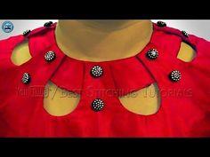 Kurti Neck Design using buttons Chudidhar Neck Designs, Salwar Neck Designs, Kurta Neck Design, Neck Designs For Suits, Sleeves Designs For Dresses, Blouse Back Neck Designs, Neckline Designs, Kurta Designs, Blouse Designs
