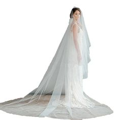 YANG HAO Womens 1T Ivory 4 Meter Brides Wedding Veils Tulle Cathedral Length Ivory Meter 4 -- See this great product.-It is an affiliate link to Amazon.