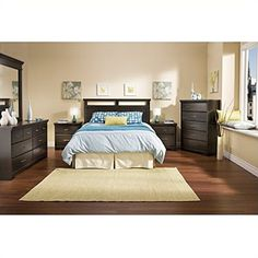 $548 South Shore Versa Wood Panel Headboard 4 Piece Bedroom Set in Black Ebony    #Bedroom #Master #For   Small Rooms #For Couples #Apartment #For Women #Rustic #Boho #Vintage #Modern   #Cozy #Cheap #On a budget #Romantic #Grey #Bohemian #Ideas #Decor