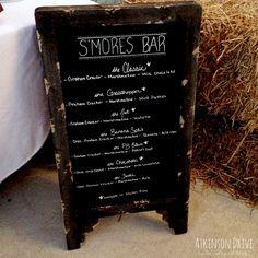 Smores bar menu