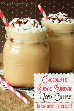 Chocolate Fudge Sundae Iced Coffee - Brew your favorite Keurig iced coffee flavor over two scoops of vanilla ice cream instead of ice for THE BEST iced coffee ever! Don't forget the whipped cream and chocolate syrup!
