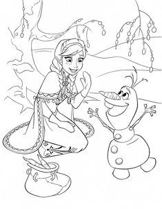 Frozen Coloring Page Anna Olaf