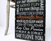 Family Rules In Our House We...Wood Sign Black