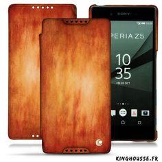 Etui portefeuille Sony Xperia Z5 cuir Orange Anthracite - Housse Noreve. #Etui #Leather #Orange #SonyXperia #Z5 #Anthracite