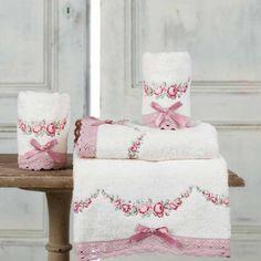 Serviettes de toilette Guirlande de roses Blanc Mariclo