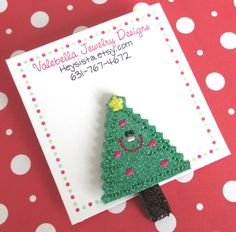 New #Handmade embroidered #HairClip Oh #Christmas #ChristmasTree #glitter #tree $4.50each See more in my #Etsy shop Heysista.etsy.com