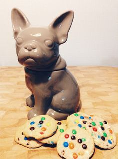 French bulldog cookie jar + soft m&m cookies