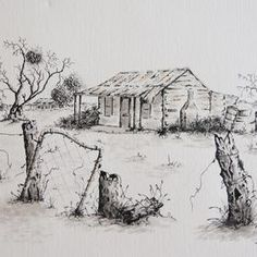 Titled 'Deserted' an outback scene by Judy LaMonde - original art for sale, pen and ink on German rag paper - make an offer http://www.artinvesta.com/artist/32 and see more of Judy's work in her online    artinvesta gallery. Australia, outback, bush, house, shed, old, scene, harsh, dry