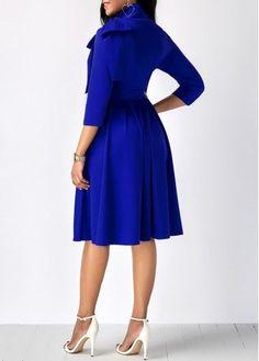 Bowknot Embellished Mock Neck Pocket Dress | Rosewe.com - USD $31.88