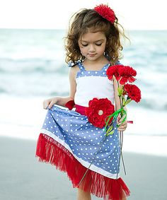 Love this White & Blue Polka Dot Flower Dress - Toddler & Girls by Mia Belle Baby on #zulily! #zulilyfinds