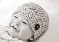 The ButtonDown Beanie Crochet Hat Pattern by LittleBirdieShoppe,