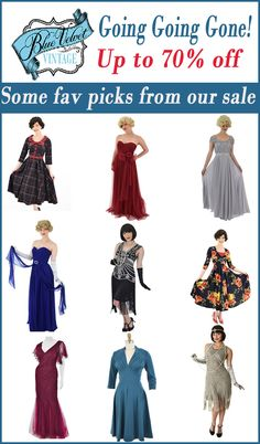 Downsizing our business. All gowns, vintage style dresses, beaded flapper dresses, shoes, purses, hats, & more must go. Great options for upcoming Holiday events, gifts, Halloween etc. Shop now. Once they're gone, they're gone! Beaded Flapper Dress, Flapper Dresses, Old Hollywood Style, Old Hollywood Glamour, Pinup Couture, Vintage Velvet, Vintage Style Dresses, Party Wear, Dresses For Sale